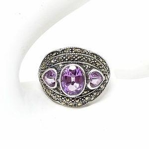 Vintage Sterling Silver Amethyst Ring Size 9